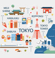 tokyo travel map in flat vector image