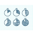 Hadn-drawn feltip pen pie chart icons set vector image