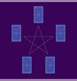 tarot cards spread with pentagram reverse side vector image