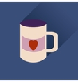 Flat web icon with long shadow cup heart vector image