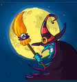 halloween blue witch in hat with a broom isolated vector image