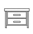 nightstand with drawers dotted silhouette on white vector image