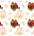 seamless pattern with pumpkin cart and leave vector image