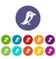 Social network bird set icons vector image
