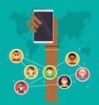 hand holds mobile group social media global vector image