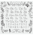 Hand Drawn English Alphabet Letters and Numbers vector image