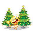 A monster near the christmas trees holding a vector image