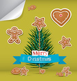 Christmas Card with Gingerbread and Branch - Tree vector image
