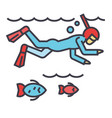 diving in the sea with fish scuba diving vector image