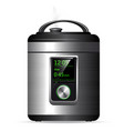 modern metal multicooker pressure cooker for vector image
