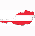 Map of Austria with national flag vector image vector image