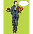 Man with candies box and flowers pop art vector image