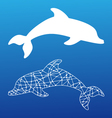 white silhouettes of dolphin vector image