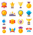trophy medals and winning ribbon success icons vector image vector image