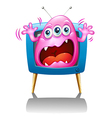 A TV with a pink monster screaming vector image vector image