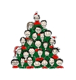 Christmas tree made from group of people for your vector image vector image