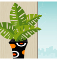 tropical plant retro-stylized vector image