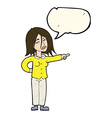 cartoon woman pointing with speech bubble vector image