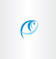 fish logo stylized icon blue design element vector image