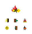 flat icon exit set of emergency exit entrance vector image