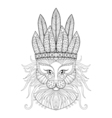 Fluffy Cat with warbonnet vector image