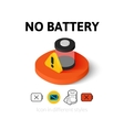 No battery icon in different style vector image