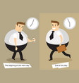 the end and the beginning of the working day vector image