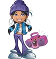 Funky Girl With Boombox vector image vector image