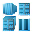 blue cargo container realistic 3d metal vector image