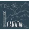 Canada landmarks Retro styled image vector image