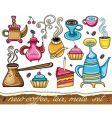 Cute coffee mate tea set vector image