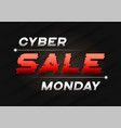 cyber monday sale banner design with a glitch vector image
