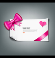 Pink ribbon and white paper design background vector image vector image