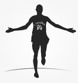 Running man silhouette with number of marathon on vector image