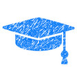 graduation cap grunge icon vector image