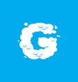 letter g cloud font symbol white alphabet sign on vector image