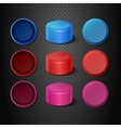 Multicolored plastic bottle caps set vector image