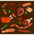 set isolated sausage and meats sliced vector image