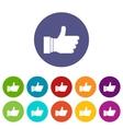 Thumb up sign set icons vector image
