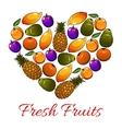 Fruits heart shape fresh fruits icons vector image vector image