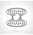 Scallop with gem black line icon vector image