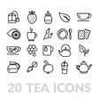 collection of tea line icons vector image