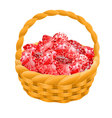 Isolated basket with red rubies Game desing vector image