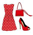 romantic red polka dots dress shoe and handbag vector image