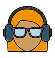 woman with headphones icon vector image