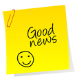 Sheet of paper with Good news text vector image