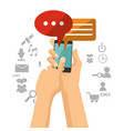hand holds mobile phone bubble speech chat vector image