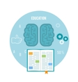 Book with brain Education concept vector image