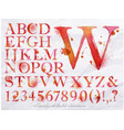 Alphabet watercolor red vector image