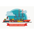 Merchant Marine Freight Poster vector image